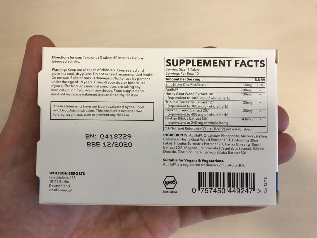 Viasil Supplement Facts